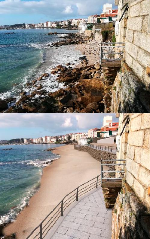Simulación do recheo e novo acceso á praia da Carabuxeira